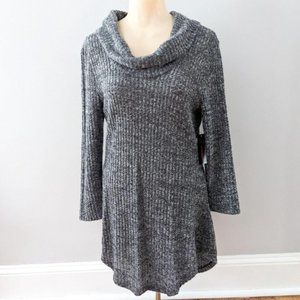 Gray Cowl Neck Open Back Tunic Sweater Large